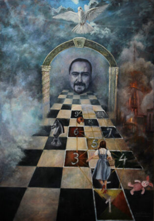 Fine Art -The Game of Life Original symbolic fantastic surreal Oil -Painting on Canvas by artist Darko Topalski