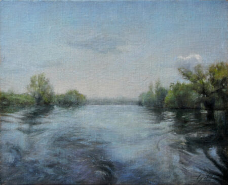 On the River - Original Landscape Oil Painting on Canvas - by artist Darko Topalski