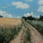 Countryside Road Through Fields – Landscape Oil Painting