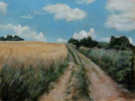 Countryside Road Through Fields - Original Fine Art landscape Oil Painting on Canvas by artist Darko Topalski