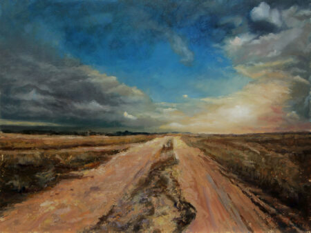 Dusty Countryside Road  - Original Fine Art landscape Oil Painting on Canvas by artist Darko Topalski