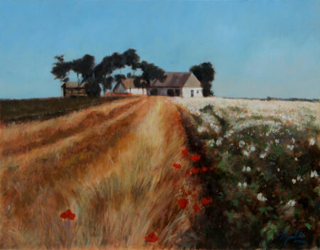 Old House in the Countryside fields - Original Fine Art landscape Oil Painting on Canvas by artist Darko Topalski