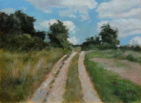 Rural Countryside Road  - Original Fine Art landscape Oil Painting on Canvas by artist Darko Topalski