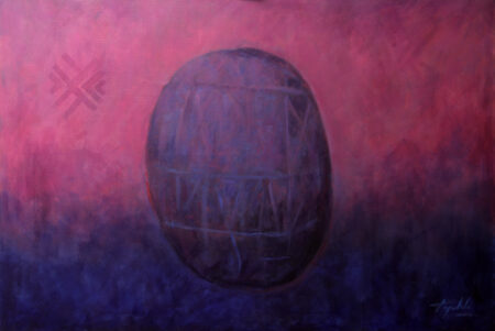 Amethyst Egg - Original XL large abstract Fine Art Acrylic Painting on Canvas by artist Darko Topalski