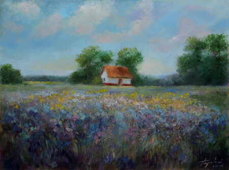 Country house in the Plain - Original Fine Art  landscape Oil Painting by artist Darko Topalski
