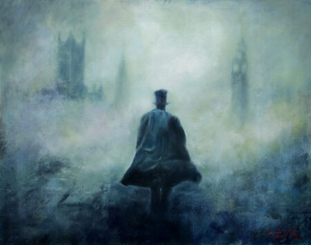 Just Passing By - Original Fine Art figurative  landscape Oil Painting by artist Darko Topalski