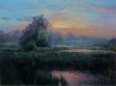 Misty country morning - Original Fine Art  landscape Oil Painting by artist Darko Topalski