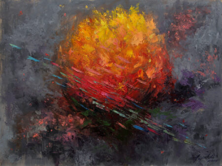 On the Line of Fire - Original Fine Art fantastic landscape Oil Painting by artist Darko Topalski