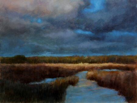 Sunspot in the Plain - Original Fine Art landscape Oil Painting by artist Darko Topalski