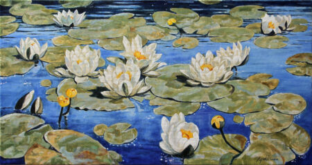 Waterlilies - Commissioned Original Fine Art landscape Oil Painting on Canvas by artist Darko Topalski