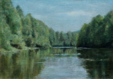 Fine Art - River - Original Landscape Oil Painting on Canvas by artist Darko Topalski