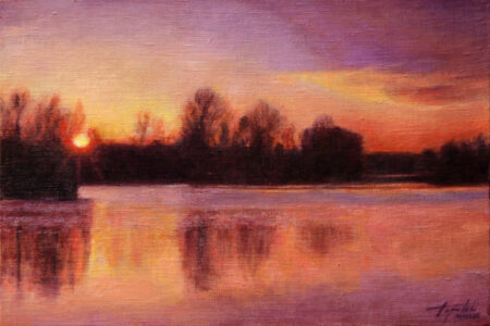 Sunset on the river - Fine Art Original Landscape Oil Painting on Canvas by artist Darko Topalski