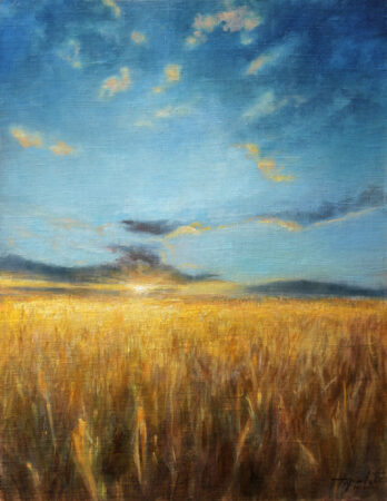 Wheat fields - Fine Art Original Artwork Landscape Oil Painting on Canvas by artist Darko Topalski