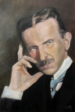 Nikola Tesla - Original Portrait Oil Painting on Canvas - by artist Darko Topalski