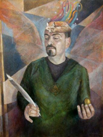 Archangel Metatron - Original Symbolic figurative Oil Painting on Canvas - by artist Darko Topalski