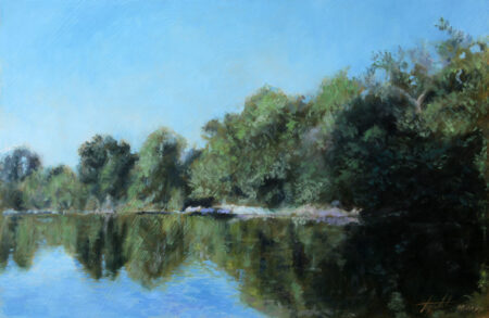 Fine Art - By the River - Original Landscape Oil Painting on Canvas by artist Darko Topalski