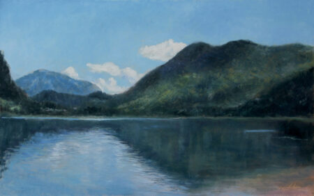 Fine Art - Mountain Lake - Original Landscape Oil Painting on Canvas by artist Darko Topalski