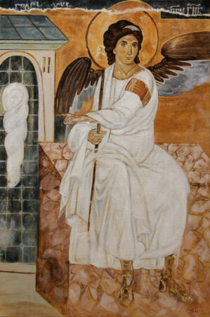 White Angel - Oil Painting on Canvas - Copy of Mileseva Moneastery frescoe - by artist Darko Topalski