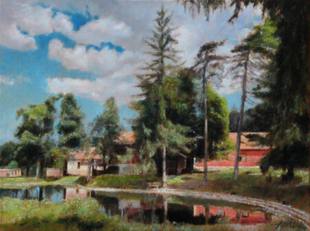 Radgost Rtanj and Lake - Original landscape Oil Painting on Canvas - by artist Darko Topalski