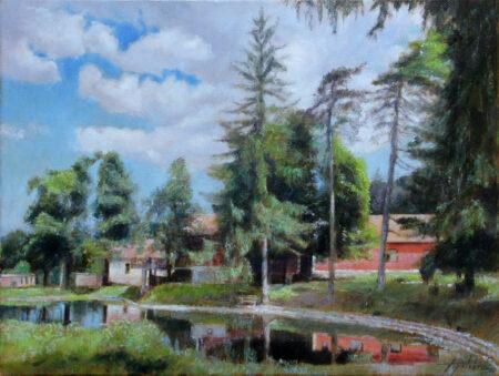 Radgost Rtanj and Lake - Original landscape Oil Painting on Canvas - by artist Darko Topalski