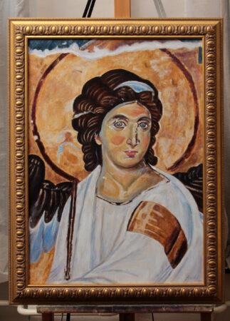 White Angel - 70X50CM Oil Painting on Canvas - by artist Darko Topalski - after Byzantine frescoe