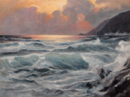 By the Seaside - Original seascape seacoast Oil Painting on Canvas - by artist Darko Topalski