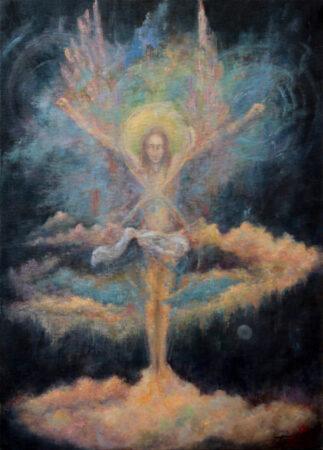 Unlimited Eight Angel - Original Symbolic figurative Oil Painting on Canvas - by artist Darko Topalski