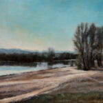 By the Danube River Pond – Landscape Oil Painting