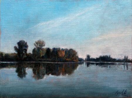 By the River (Tisa) - Original Landscape Oil Painting on Canvas - by artist Darko Topalski