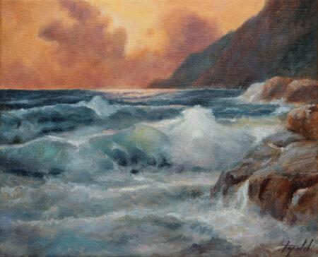 Seascape at sunset - Original seaside Oil Painting art on Canvas - painted by artist Darko Topalski