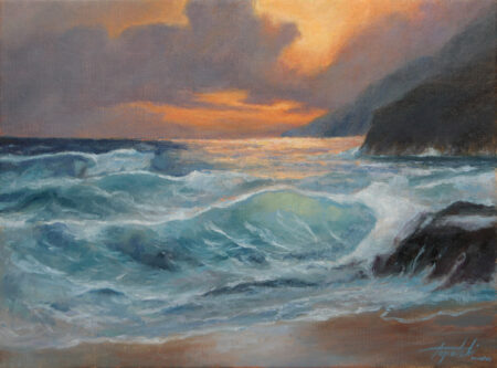 Sunset Seascape - Original Seaside Oil Painting art on Canvas - painted by artist Darko Topalski