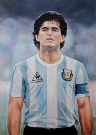 Diego Armando MARADONA - football soccer Original figurative Oil Painting art on Canvas - painted by artist Darko Topalski