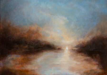 Distant Island - Original symbolic Oil Painting art on Canvas - painted by artist Darko Topalski