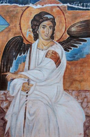 White Angel - 60x40CM Oil Painting on Canvas - by artist Darko Topalski - after Byzantine frescoe